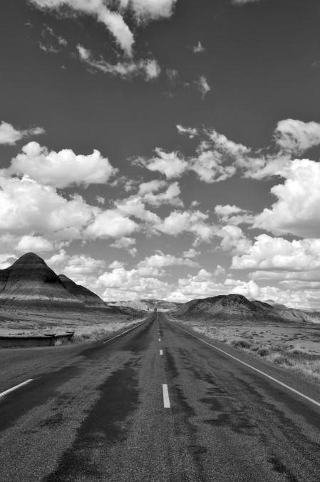 Painted desert roadway in black and white