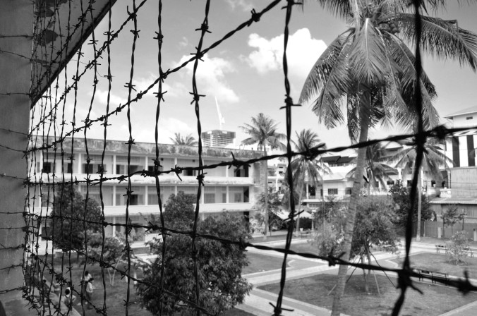 Tuol Sleng Genocide Museum Cambodia black and white