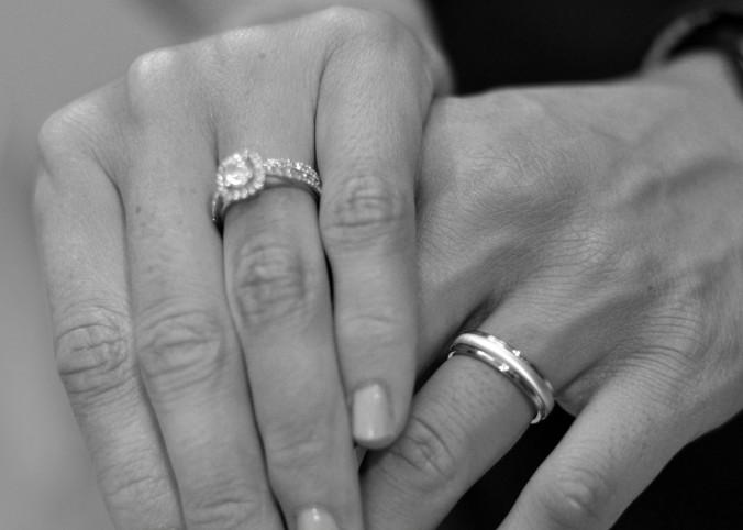Black and white wedding ring photo