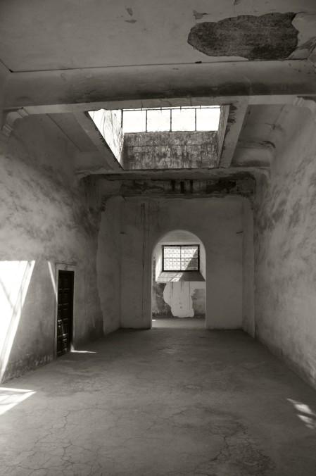 Morocco, kasbah, hallway, black and white