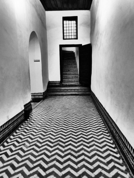 Morocco, kasbah museum, hallway, black and white