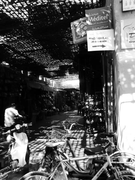 Morocco, medina, walkway, black and white