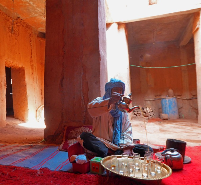 tea pouring, traditional home, Morocco, Africa