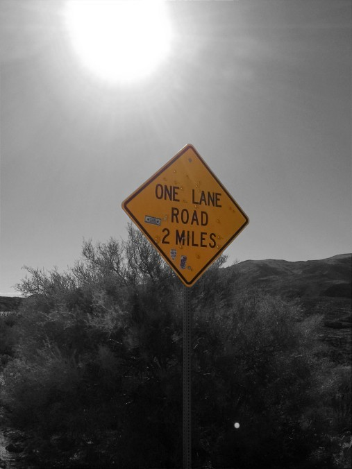 One Lane Road sign, Arizona