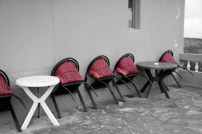roadside cafe, chairs, black and white