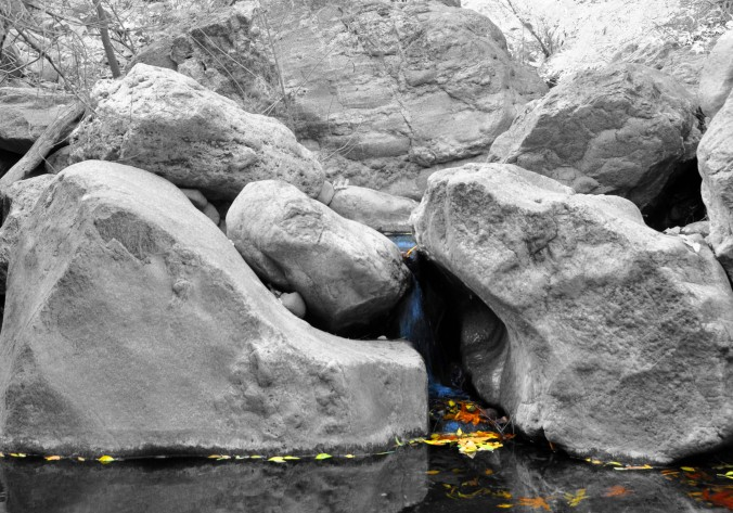 boulders, waterfall, Arizona, black and white