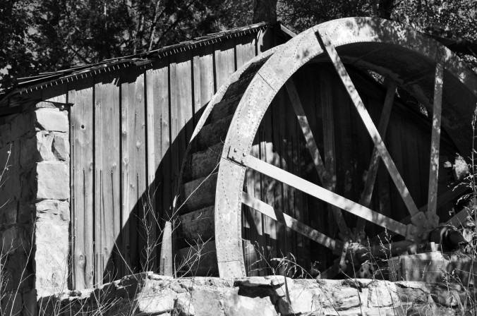 waterwheel, Crescent Moon Ranch Park, Sedona, Arizona, black and white