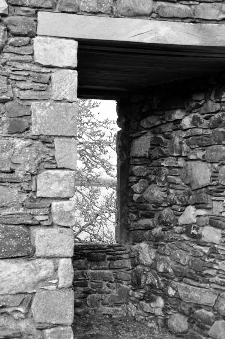 window in stone wall, Scotland, UK