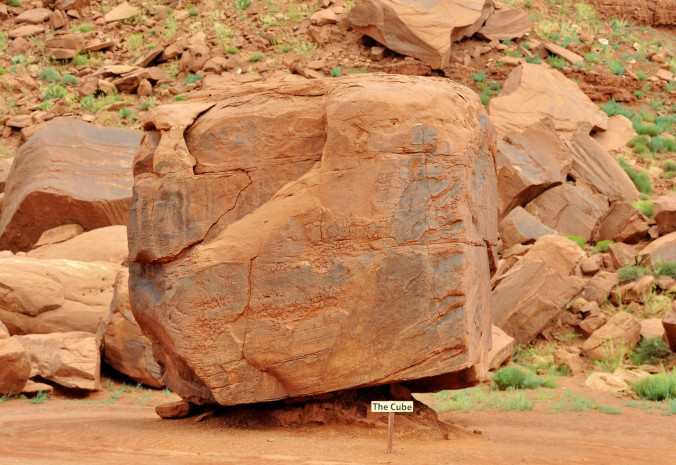 balanced boulder; the cube, Four Corners Monument, Arizona
