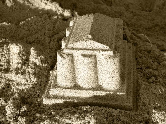 sandcastle, sepia