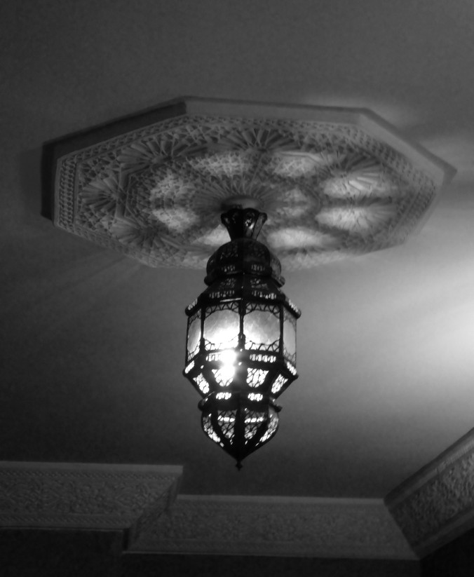 Moroccan light cover, Morocco, black and white