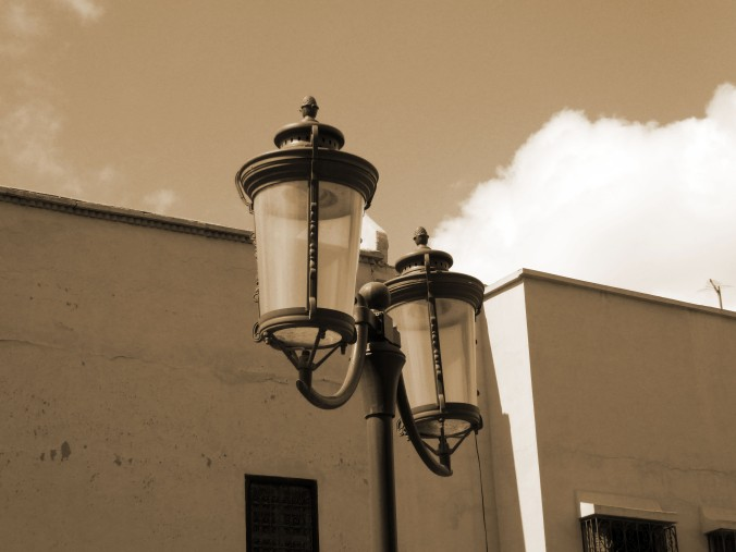 sepia street light, Morocco