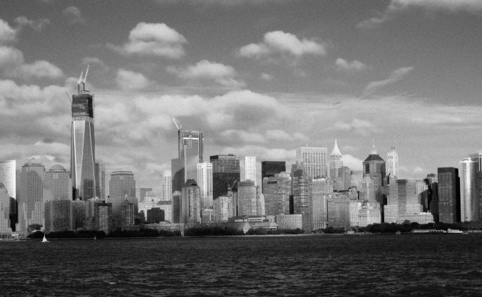 New York City skyline, black and white