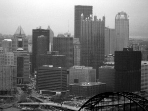 Pittsburgh Pennsylvania, city skyline, black and white