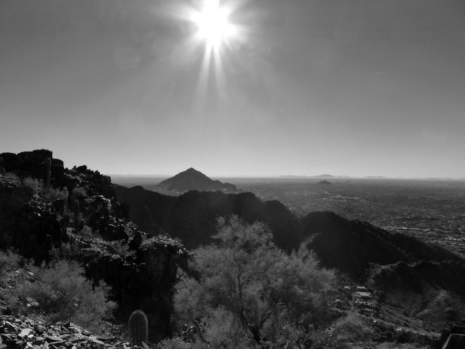 Arizona, skyline, black and white
