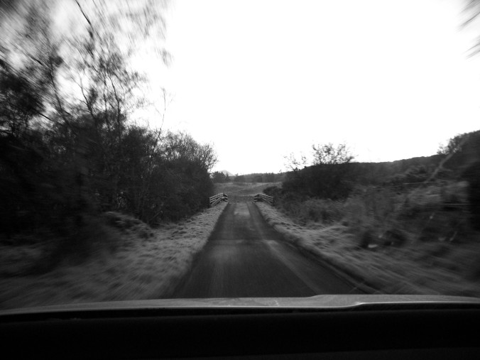 Scotland, one land road, black and white