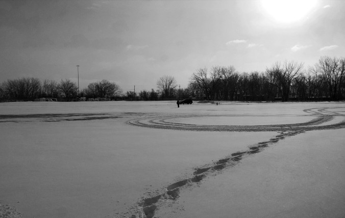 black and white snow with footprints