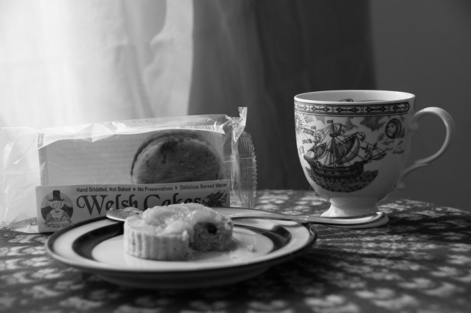 tea cup, welsh cakes, still life, black and white