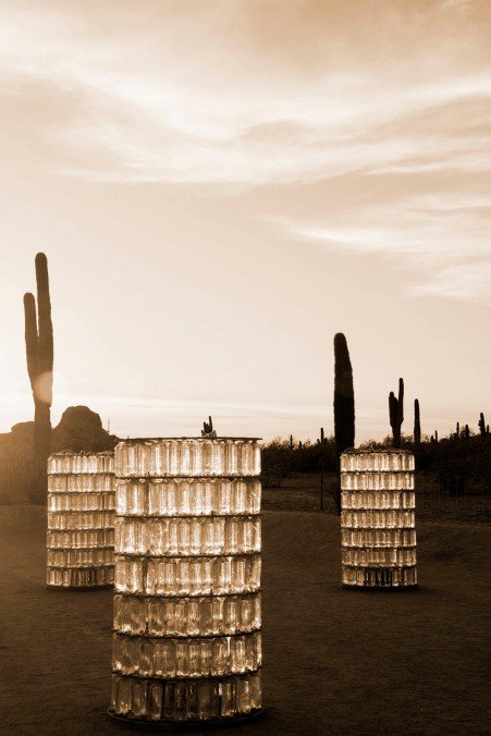 Bruce Munro Watertowers, Desert Botanical Gardens, Phoenix, sepia