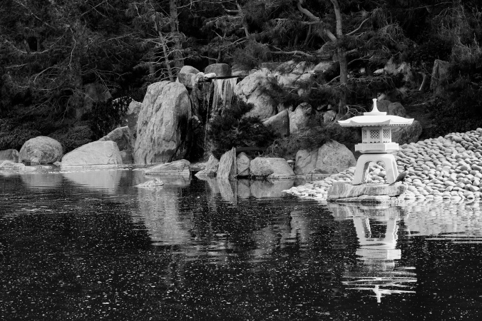 Japanese Friendship Garden, black and white reflection