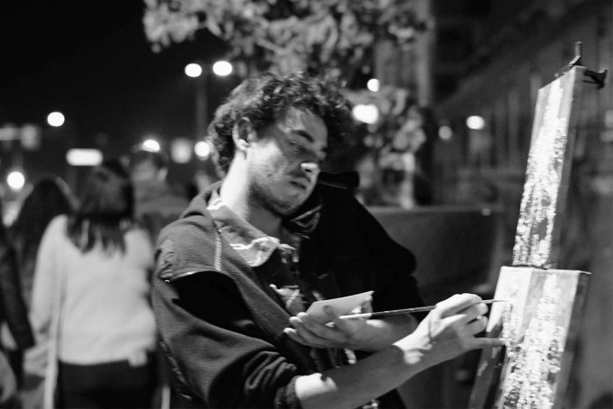 painter, black and white, First Friday, Phoenix Arizona