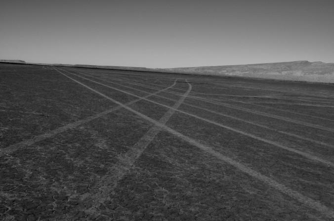 desert crossroads, black and white
