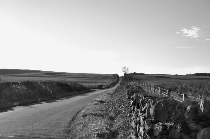 Isle of Islay, Scotland, UK, black and white road