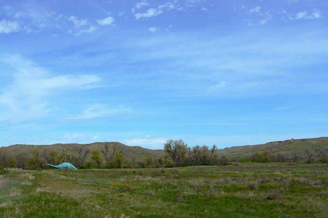 dinosaur in field, south dakota