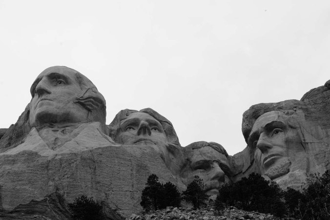 Mount Rushmore, South Dakota, black and white