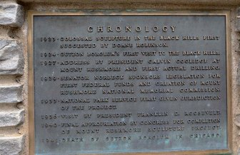 South Dakota, Black Hills, Mount Rushmore National Memorial chronology