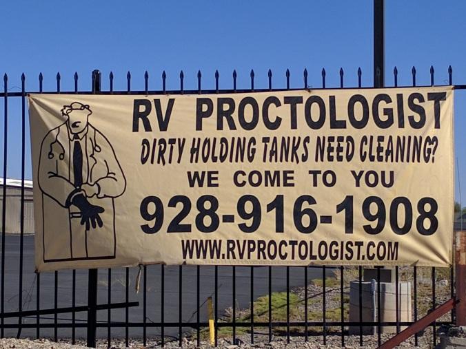 RV Proctologist sign