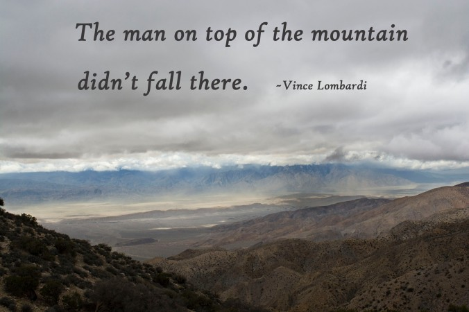 Joshua Tree National Park, Vince Lombardi quote