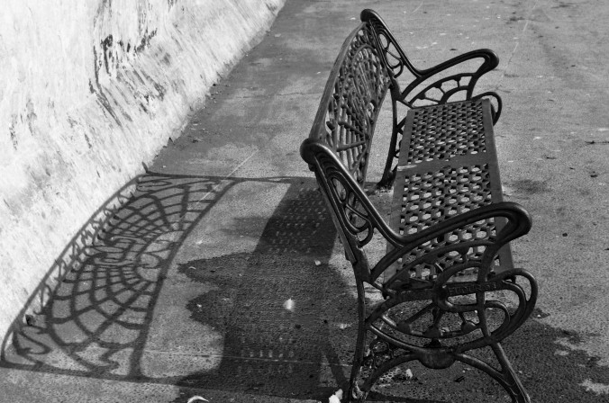 bench with shadow, black and white