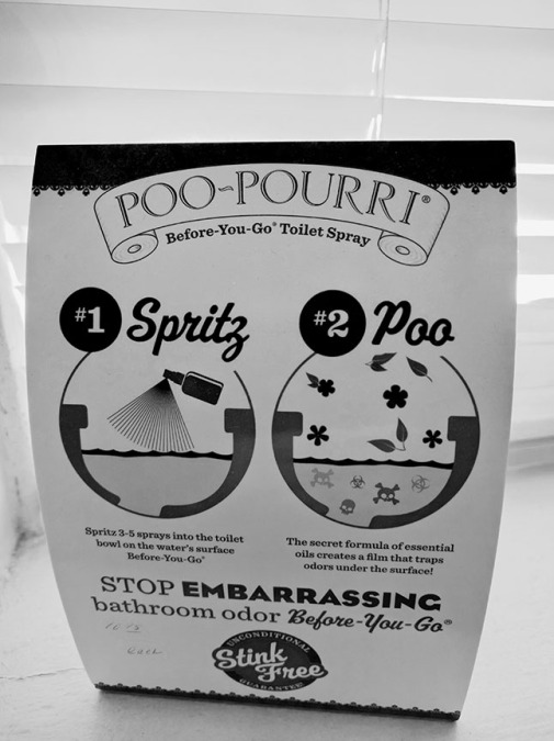 Poo-pourri, bathroom humor, sign, black and white