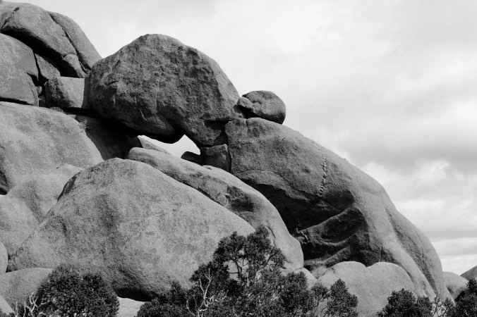 Joshua Tree National Park, boulders, black and white