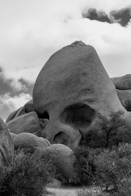 Joshua Tree National Park, boulders, black and white, Skull Rock