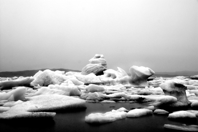 Black and white glacier lagoon, Iceland, pondertheirrelevant.com