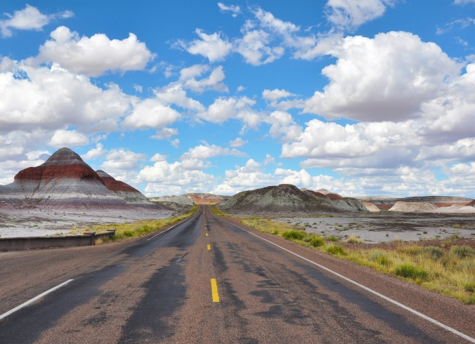 Roadway through the painted desert, Arizona